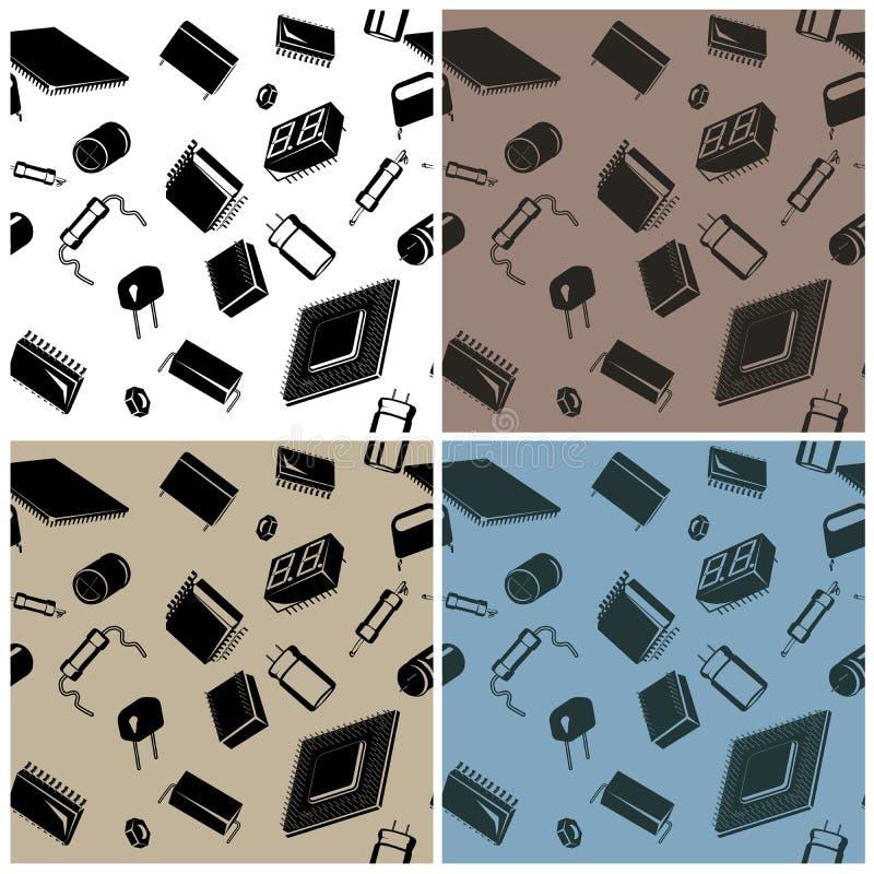 Bezszwowy w wszystkie Elektronicznych składnikach kierunku circuitry i ilustracja wektor