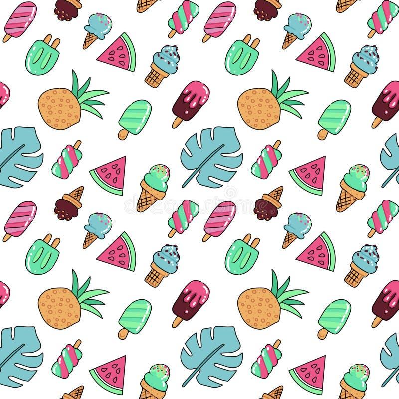 Bezszwowy wakacje ikon wzór z lody, arbuza, ananasa i palmy liśćmi, Wektorowa ręka rysujący koloru kontur royalty ilustracja