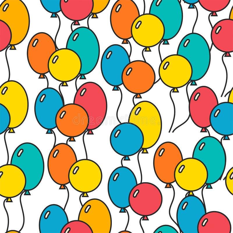 Bezszwowy, wakacyjny tło z balonami, dekoracyjny tło ilustracji