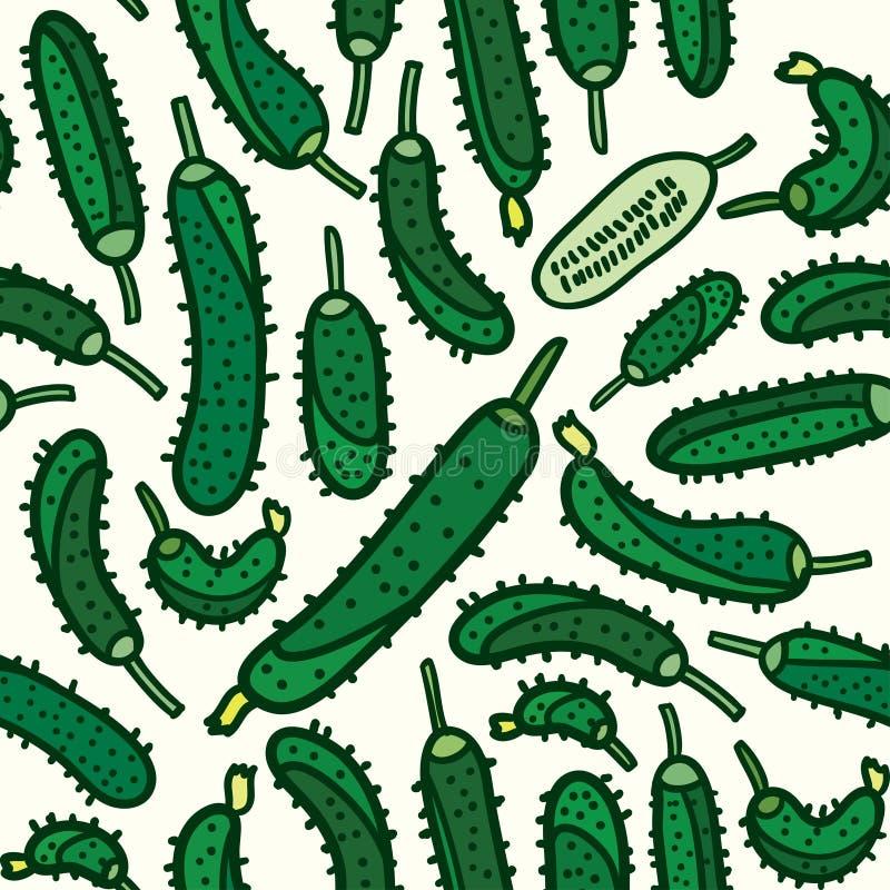Bezszwowy warzywa cucmber wzoru tło ilustracji