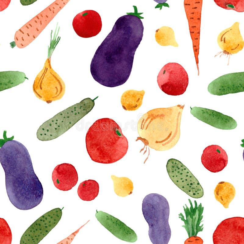 Bezszwowy warzywo akwareli wzór z cucmbers, pomidory, cebula, marchewki, oberżyny royalty ilustracja