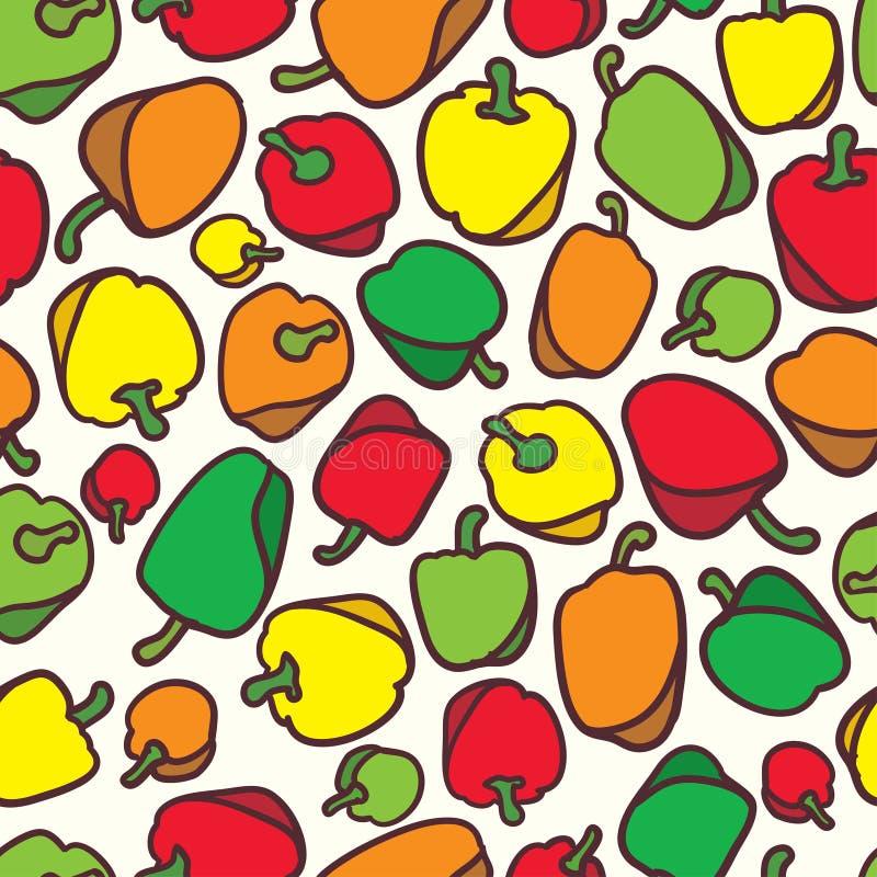 Bezszwowy warzywo dzwonkowego pieprzu wzoru tło ilustracji
