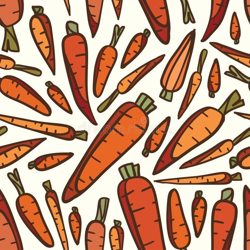 Bezszwowy warzywo marchewki wzoru tło ilustracji
