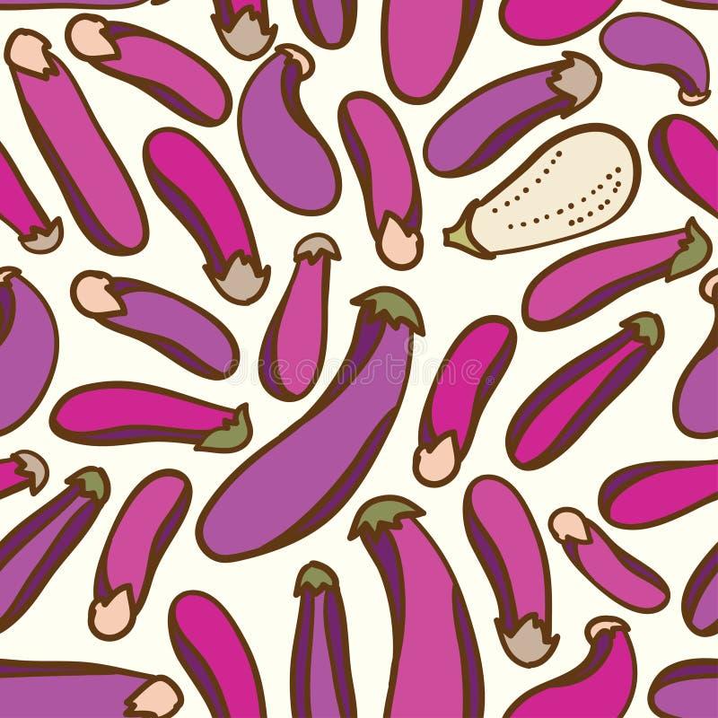 Bezszwowy warzywo oberżyny wzoru tło ilustracja wektor