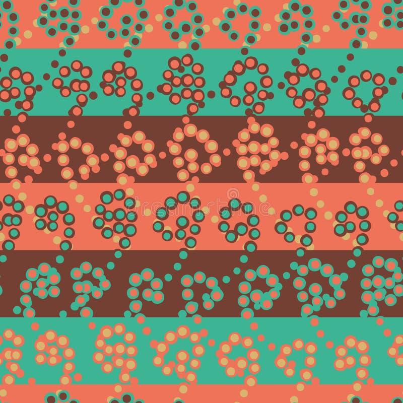 Bezszwowy wektorów lampasów wzór w turkusie i koralu royalty ilustracja