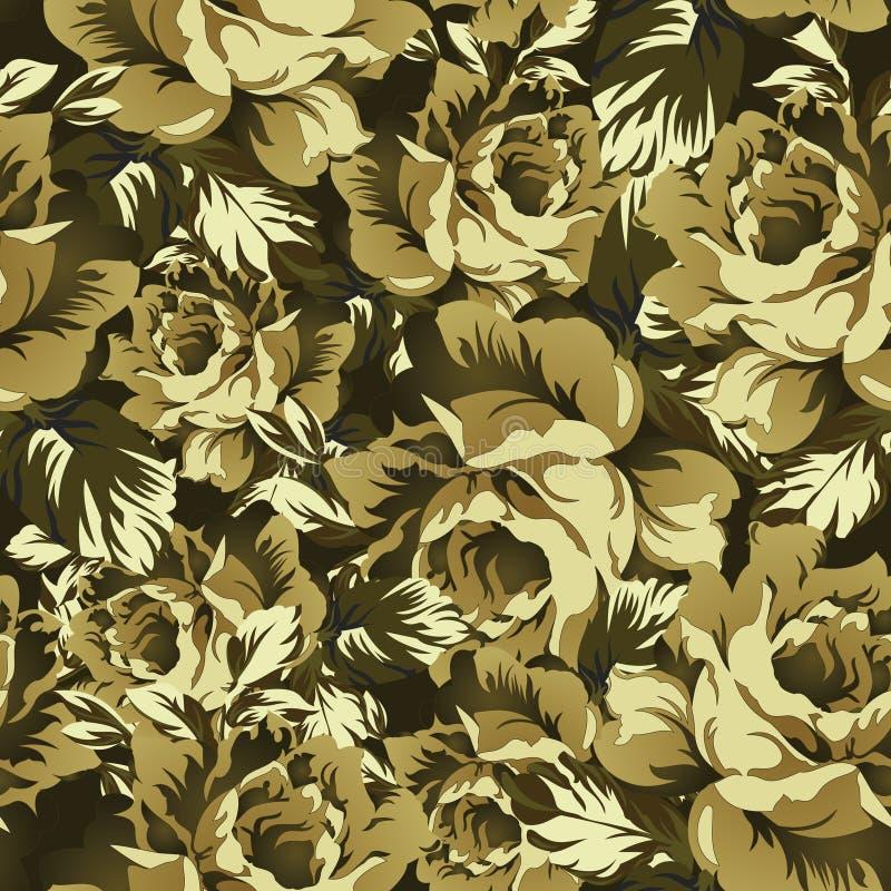 Bezszwowy wektor róży kwiatu tło w kamuflażu stylu royalty ilustracja