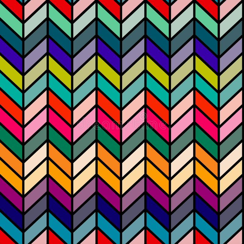 Bezszwowy wektorowy abstrakcjonistyczny retro 60s ziobro wzór ilustracji