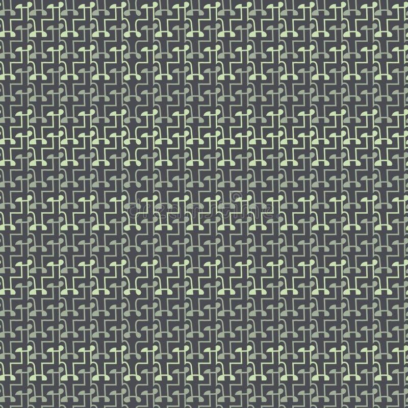 Bezszwowy wektorowy abstrakcjonistyczny unisex wzór wewnątrz siwieje i uciszać zielenie ilustracja wektor