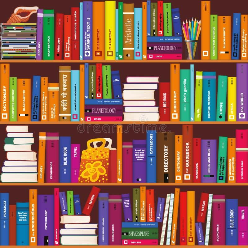 Bezszwowy wektorowy bookshelve wzór ilustracja wektor
