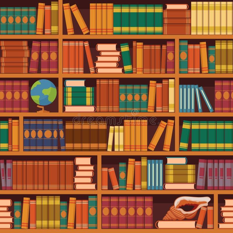 Bezszwowy wektorowy bookshelve wzór ilustracji