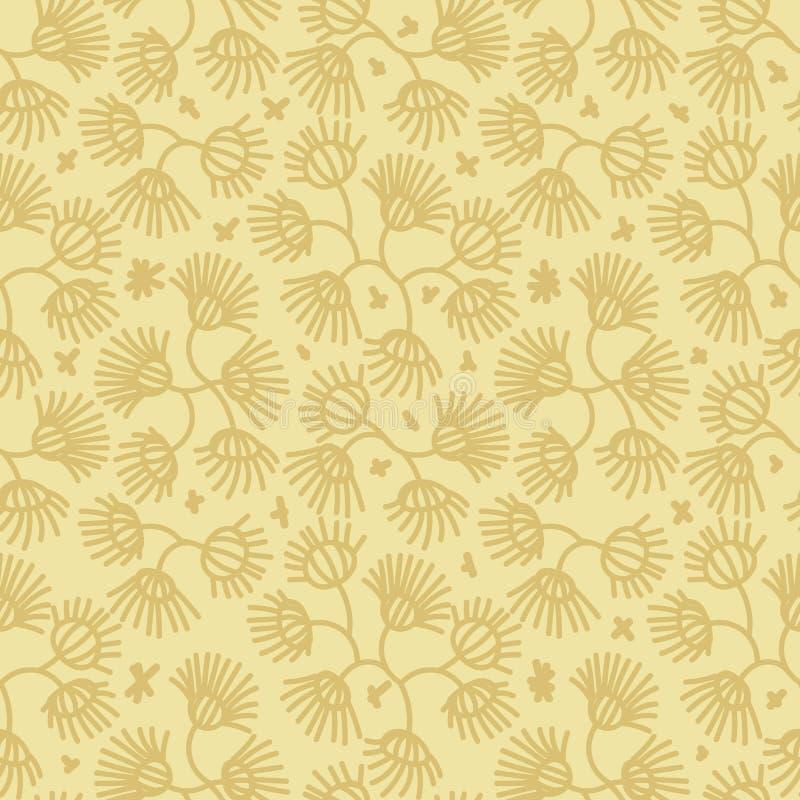 Bezszwowy wektorowy botaniczny wzór z prosty żółty kwiecistym ilustracji