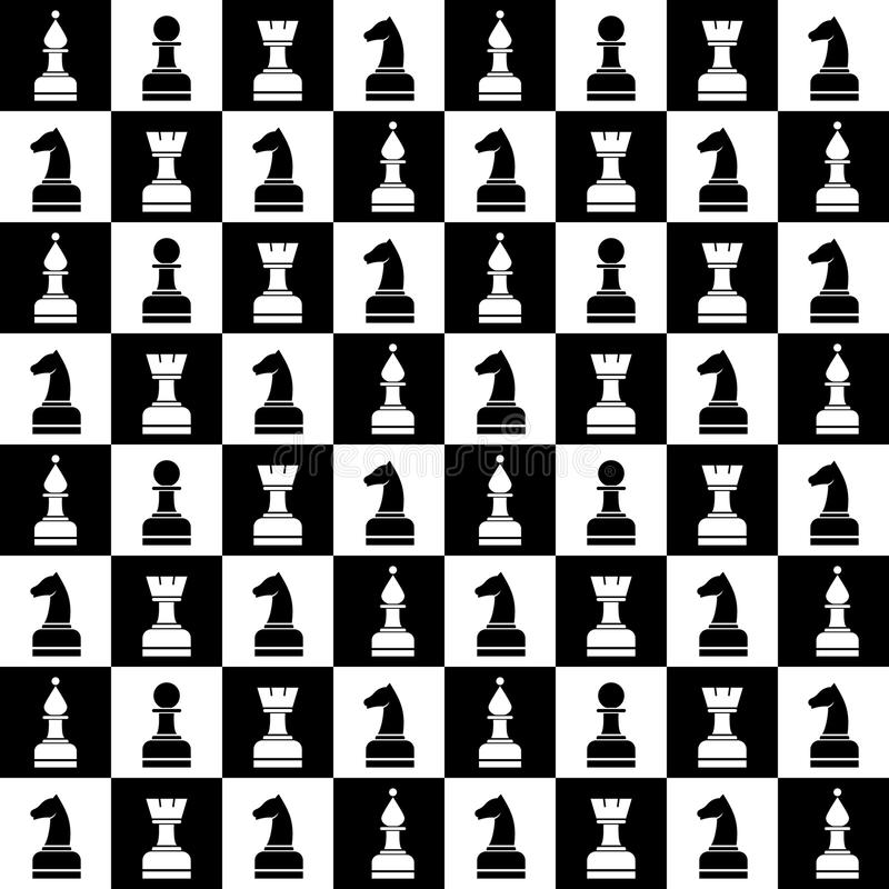 Bezszwowy wektorowy chaotyczny wzór z czarny i biały szachowymi kawałkami Serie hazard i Uprawiać hazard wzory ilustracja wektor