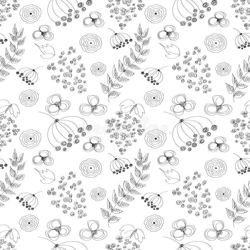 Bezszwowy wektorowy czarny i biały wzór z ręka rysującymi rysującymi kwiatami, liście Serie kreskówka, ilustracja wektor