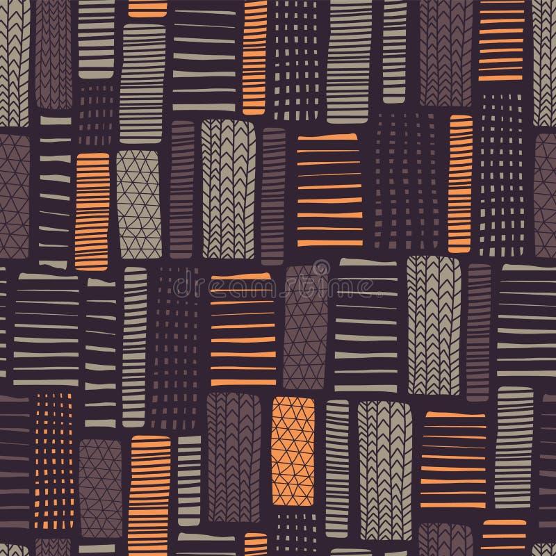 Bezszwowy wektorowy geometrical wzór Pionowo prostokąty piaski, pomarańcze, szarość, purpury barwią Ręka rysująca wykłada na czar royalty ilustracja