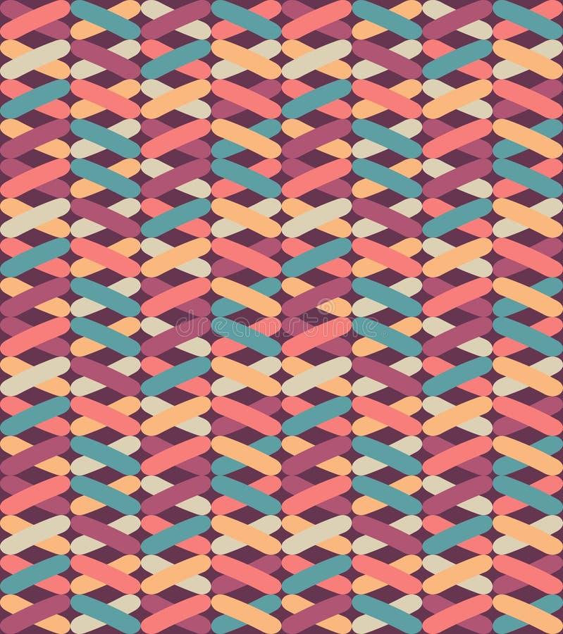 Bezszwowy wektorowy geometryczny wzór z kolorowymi krzyżami Niekończący się zygzakowaty abstrakcjonistyczny tło ilustracji