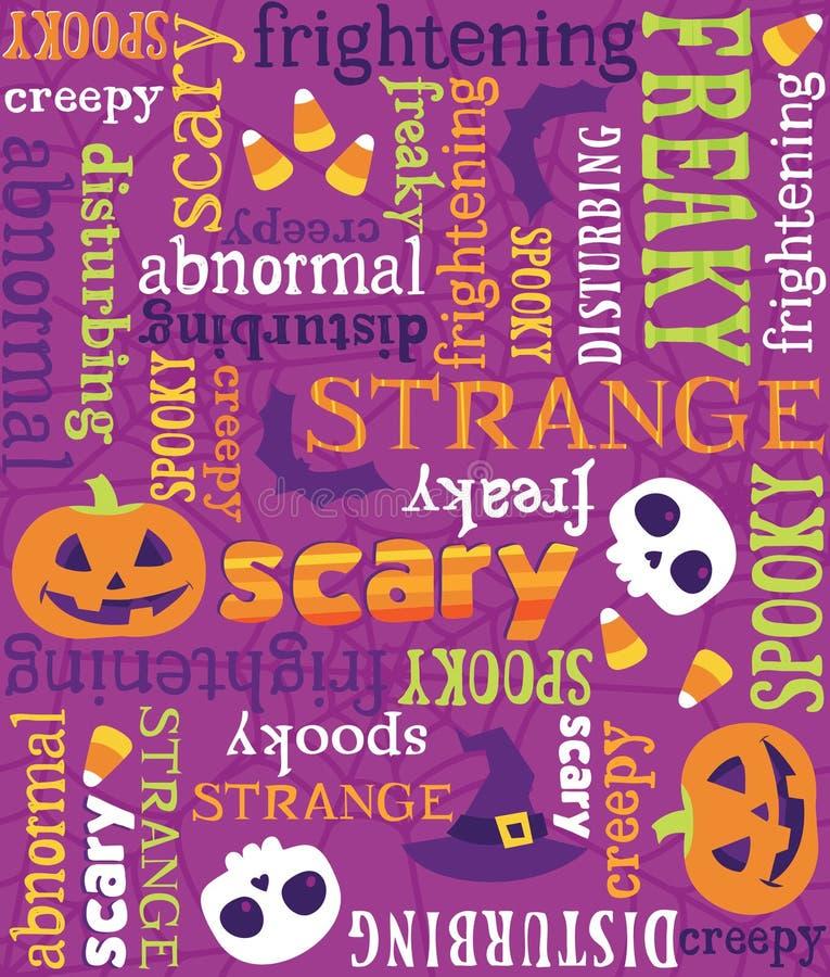 Bezszwowy Wektorowy Halloween słów wzór ilustracji