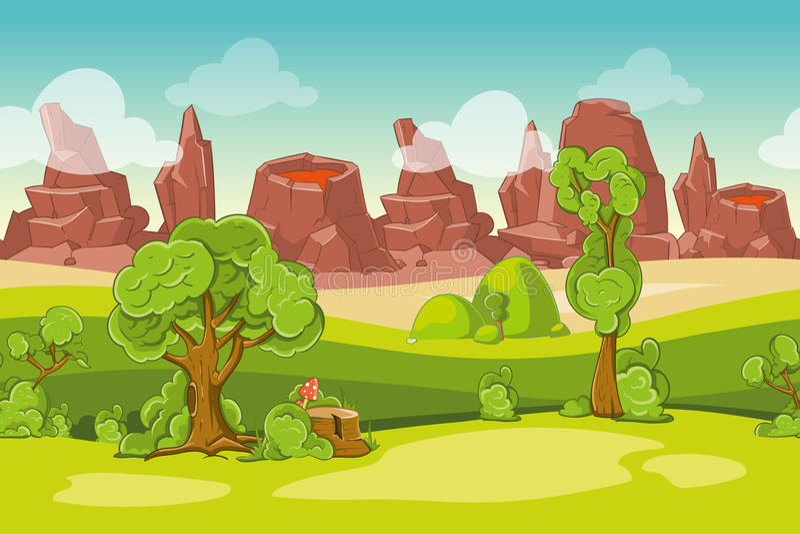 Bezszwowy wektorowy kreskówki natury krajobraz z drzewami, skałami i volcanoes, royalty ilustracja