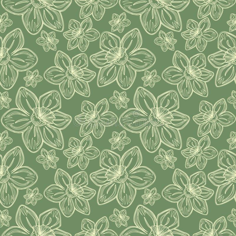 Bezszwowy wektorowy kwiatu wzór, rocznika tło z linie drawed frowers nad pastel zieleni tłem, ilustracji