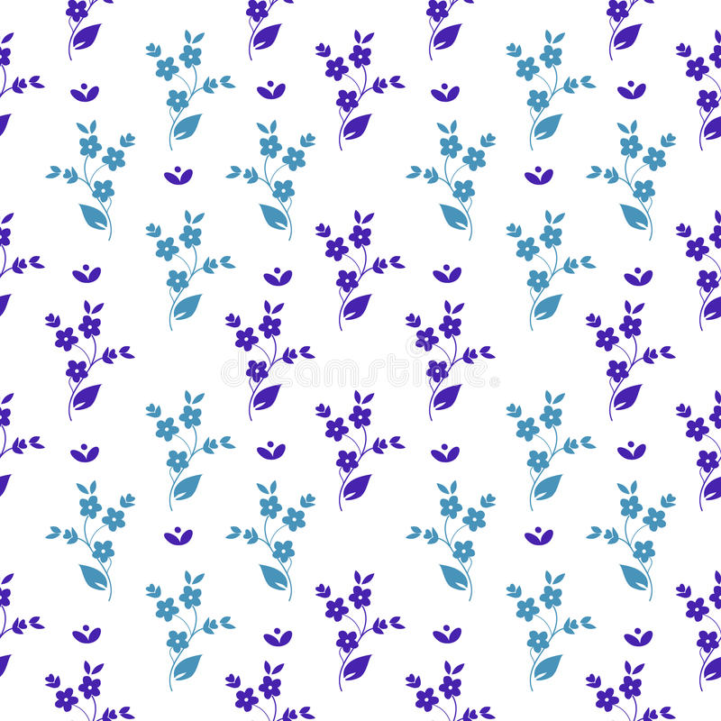 Bezszwowy wektorowy kwiecisty deseniowy mały zmrok i bławi kwiaty w symetrycznym przygotowania na białym tle, millefleurs royalty ilustracja