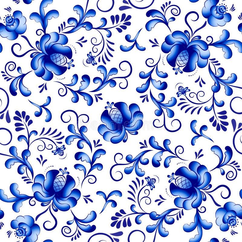 Bezszwowy wektorowy kwiecisty deseniowy tło w stylu Gzhel tradycyjny ornamentu rosjanin ilustracji