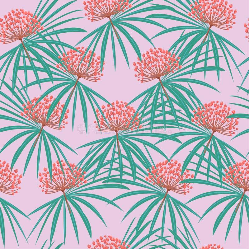 Bezszwowy wektorowy lato wzoru dzikich kwiatów tło z tropem ilustracja wektor