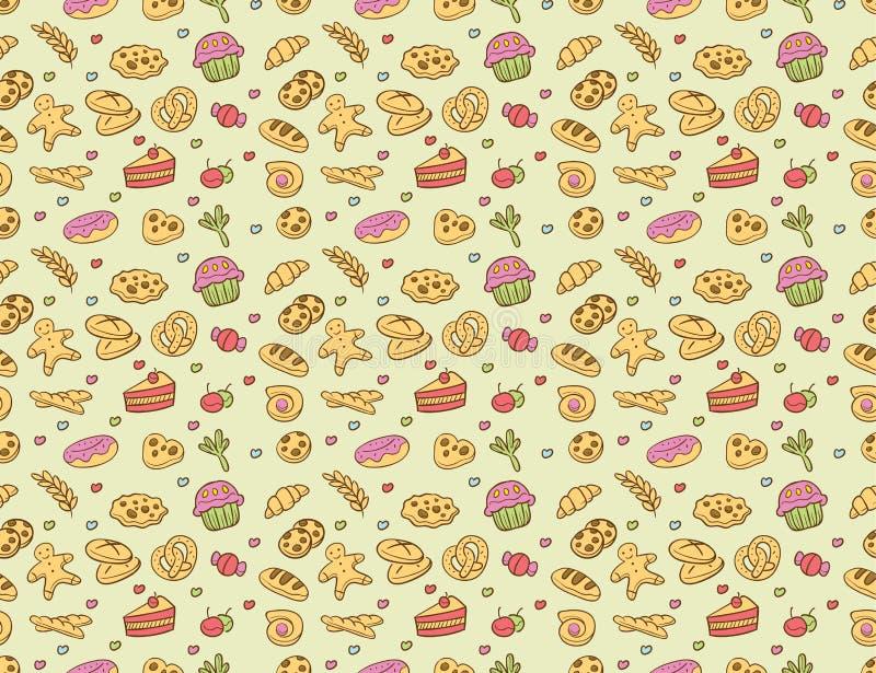 Bezszwowy wektorowy piekarni & ciasta wzór royalty ilustracja