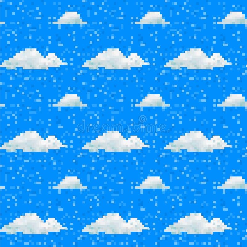 Bezszwowy wektorowy piksel chmury wzór ilustracji