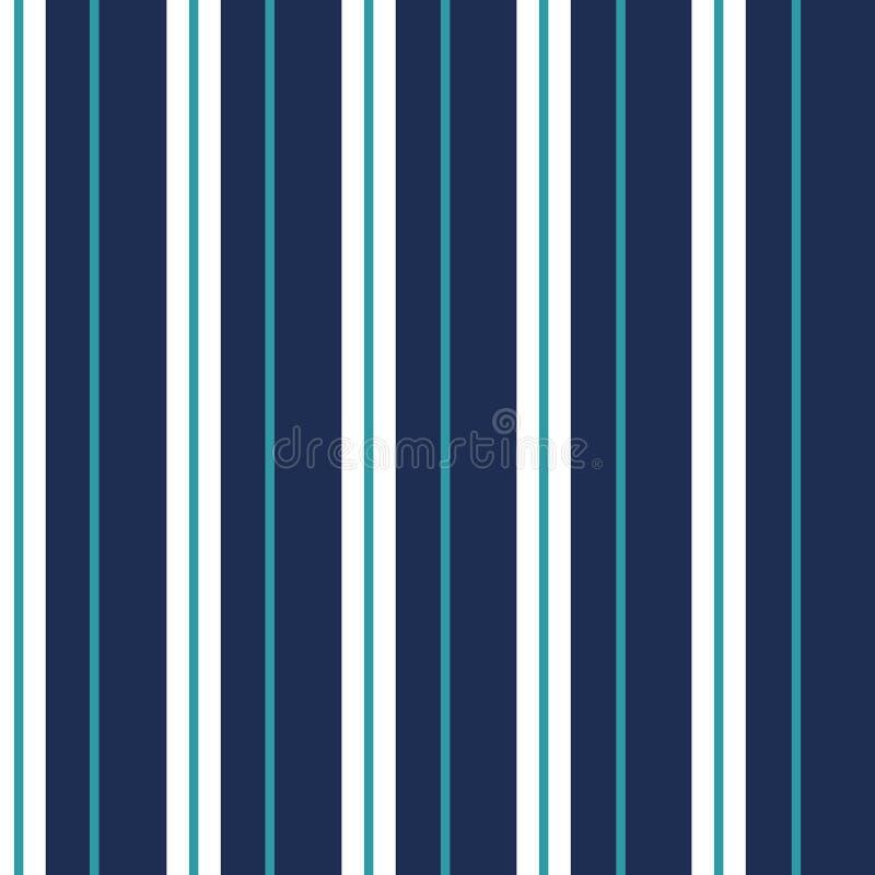 Bezszwowy wektorowy pionowo nowożytny lampasa wzór w marynarce wojennej i biel z cienkim błękitnym cyraneczka lampasem ilustracja wektor