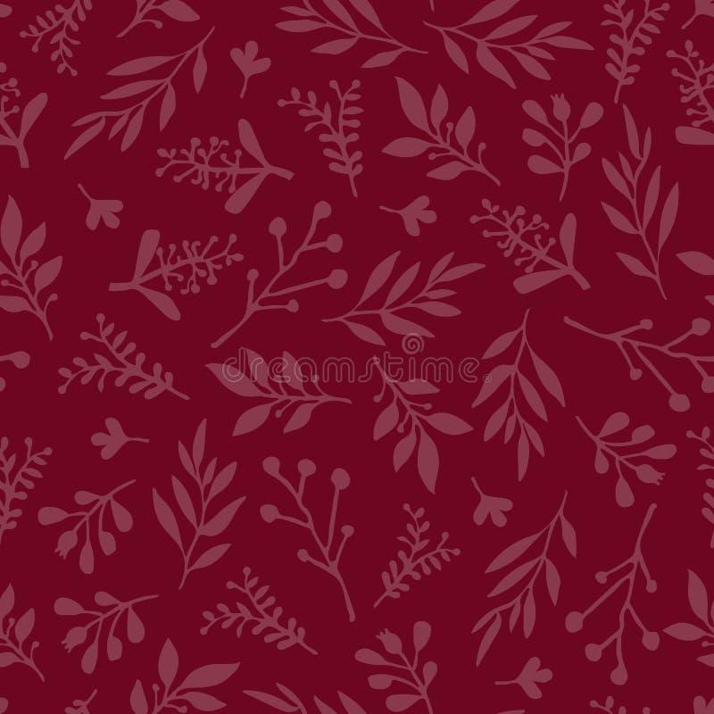 Bezszwowy wektorowy tło z abstraktem opuszcza czerwień Prostego liścia tekstura w czerwieni, niekończący się ulistnienie wzór Sub royalty ilustracja