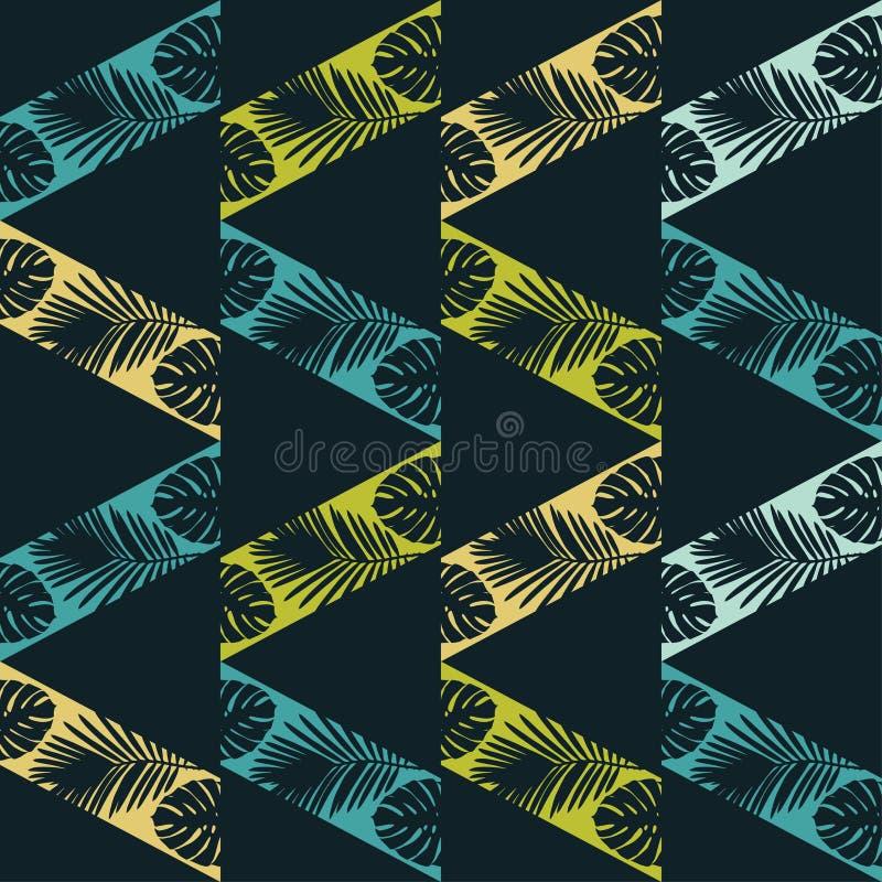 Bezszwowy wektorowy tło z dekoracyjnymi liśćmi Tekstura zygzag Tekstura palmowi liście royalty ilustracja