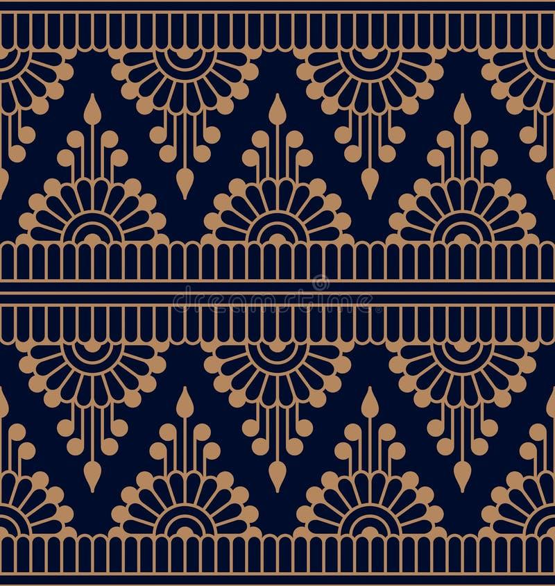 Bezszwowy wektorowy traditonal hindusa wzór bezszwowy szablon w swatch panelu projekt dla tkaniny, druk, woodblock royalty ilustracja