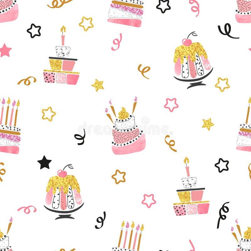 Bezszwowy wektorowy urodzinowego torta wzór royalty ilustracja