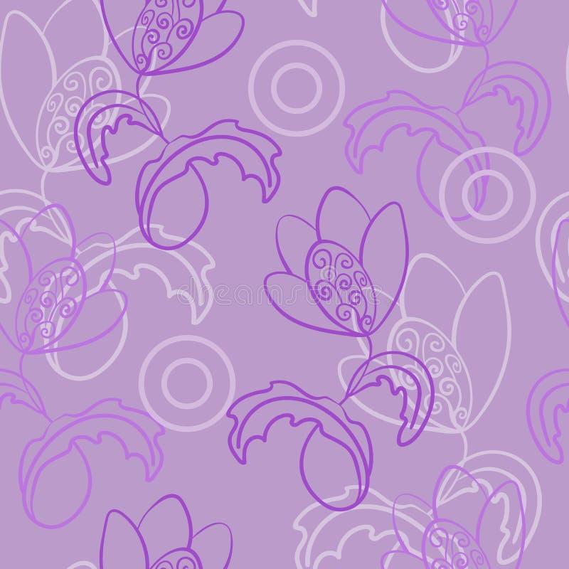 Bezszwowy wektorowy wielokrotno?? wz?r Fantazja, bajecznie kwiat z k?dziorami Wśród chaotically rozrzuconych okregów ilustracja wektor