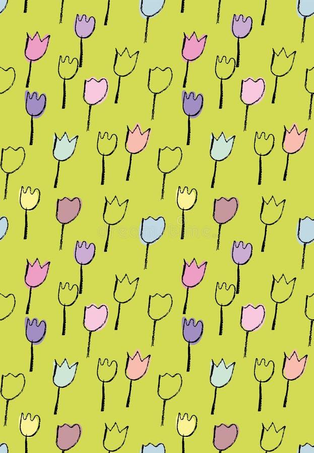 Bezszwowy wektorowy wiosna wzór z tulipanami doodles na yellowish zieleni tle royalty ilustracja