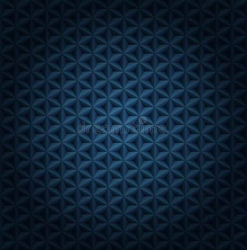 Bezszwowy wektorowy wolumetryczny zmrok - błękita wzór z winietą Glansowany luksusowy zmrok - błękitnych poligonalnych płytek now ilustracja wektor
