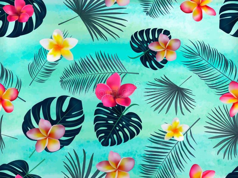 Bezszwowy wektoru wzór z sylwetki palmą opuszcza na zielonym tle i orchidea royalty ilustracja