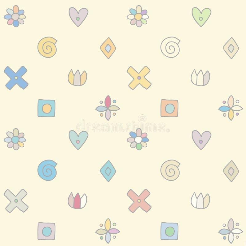 Bezszwowy wektoru wzór, śliczna dekoracyjna geometrical ręka rysująca z dziecinnymi elementami, kropki, kwadrat, okrąg, krzyż, pr ilustracja wektor