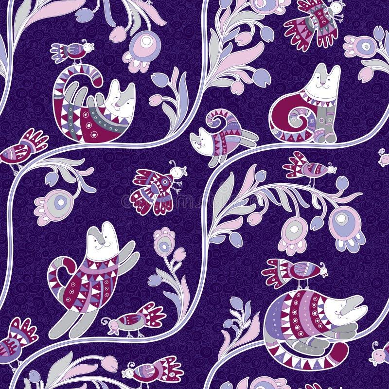 Bezszwowy wektoru wzór - śliczni koty i ptaki z ornamentem na fiołkowym tle etnicznym i kwiecistym royalty ilustracja