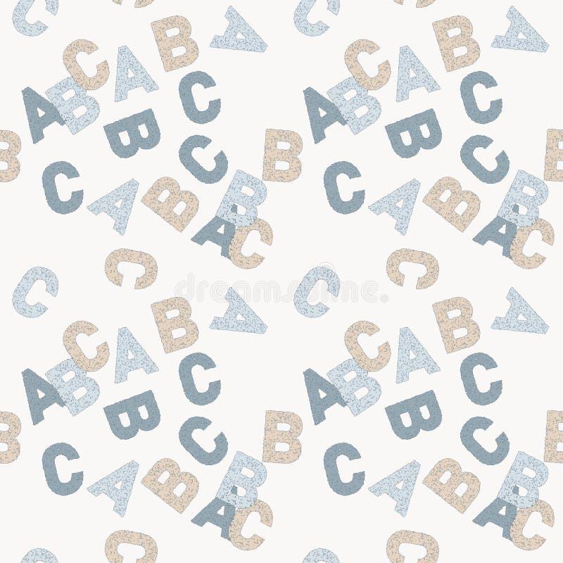 Bezszwowy wektoru wzór abc anglików listy w błękicie i beżu na białym tle ilustracja wektor