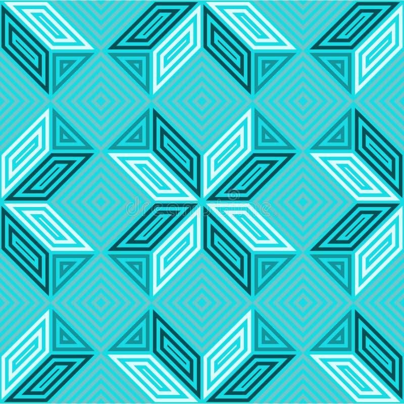Bezszwowy wektoru wzór, cienie turkusowy seledyn, kwadratowa mozaika fotografia stock