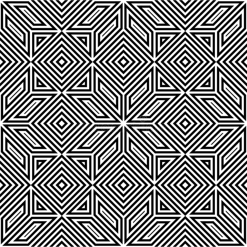 Bezszwowy wektoru wzór, czarny i biały, kwadratowa mozaika, obrazy royalty free