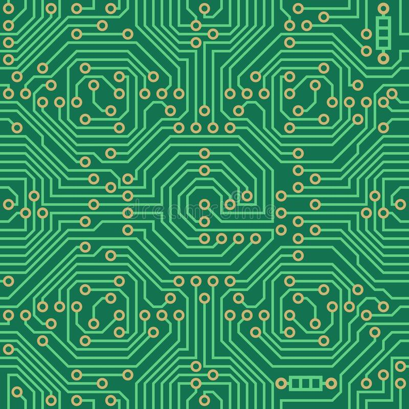 Bezszwowy wektoru wzór - elektronicznego obwodu deski tło ilustracji