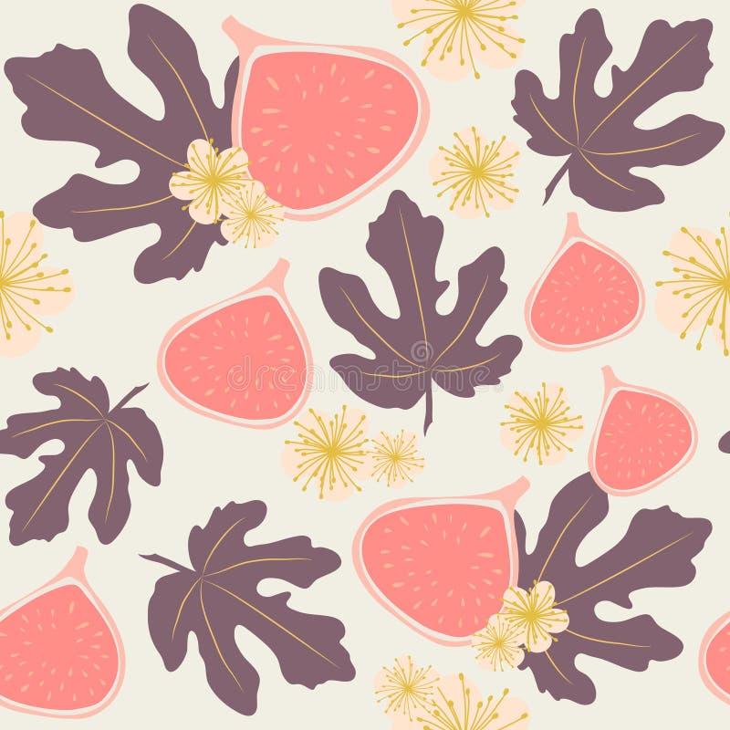 Bezszwowy wektoru wzór figi, liście i kwiaty w pastelowych kolorach, zdjęcia stock