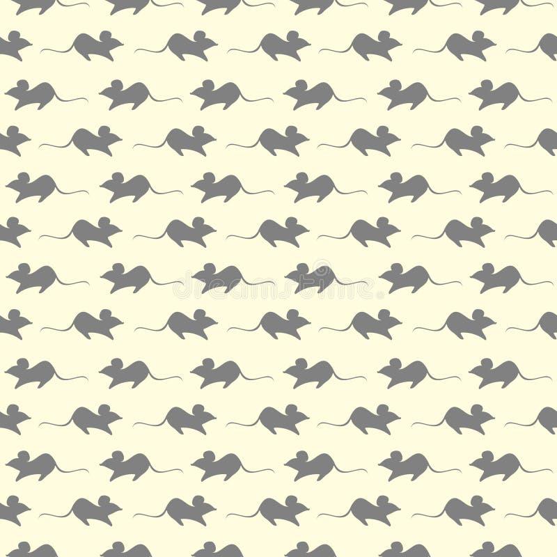 Bezszwowy wektoru wzór, lekki pastelowy tło z mouses, popielata sylwetka nad beżowym tłem ilustracja wektor
