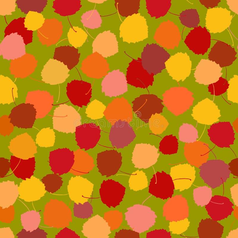 Bezszwowy wektoru wzór multicoloured bogactwo acpen liście royalty ilustracja