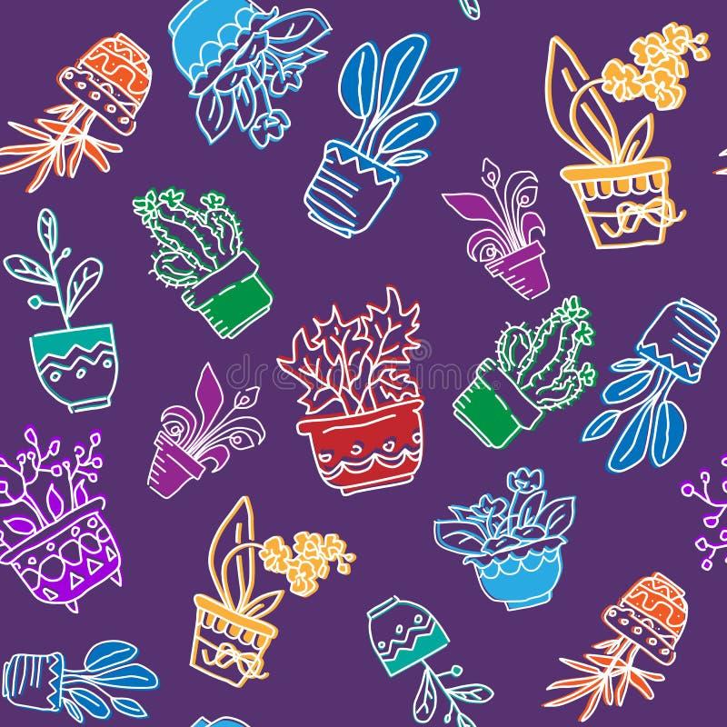 Bezszwowy wektoru wzór ręki rysujący houseplants ilustracja wektor