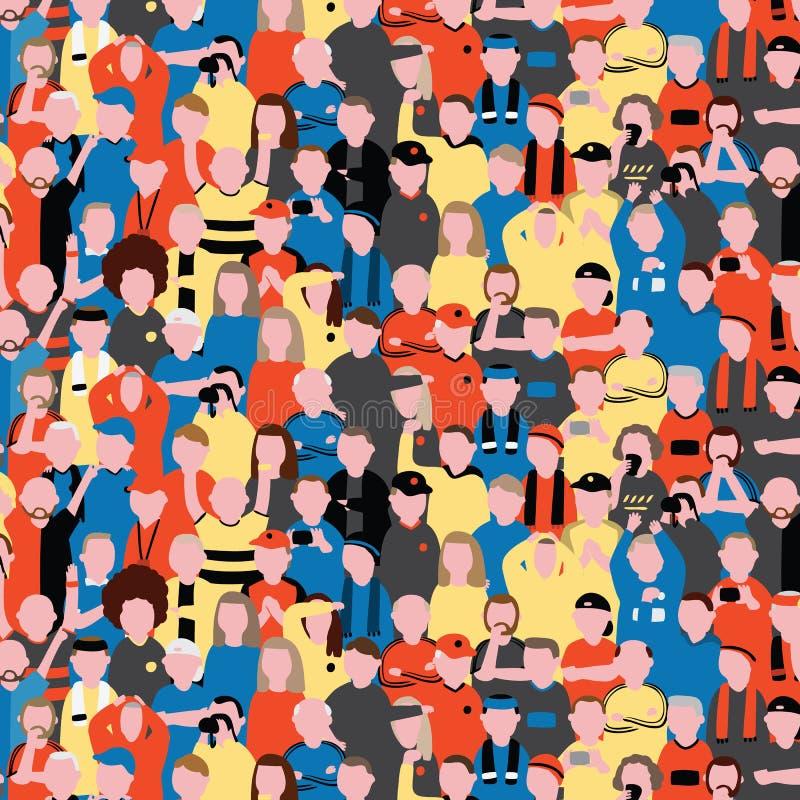 Bezszwowy wektoru wzór tłumów ludzie przy stadionem futbolowym Sportów fan rozwesela na ich zespalają się Deseniową ilustrację w  ilustracja wektor