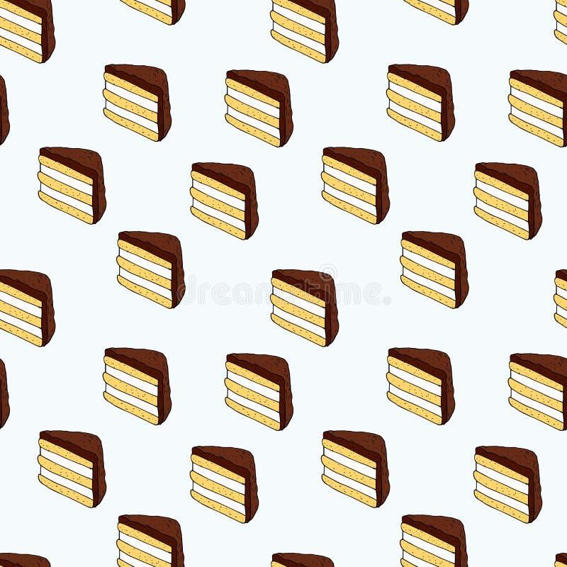 Bezszwowy wektoru wzór torty na błękitnym tle ilustracji