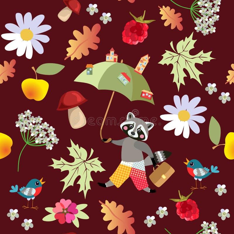 Bezszwowy wektoru wzór z ślicznym kreskówki szop pracz, kwiatami, malinkami, pieczarkami, liśćmi, jabłkami i ptakami, royalty ilustracja