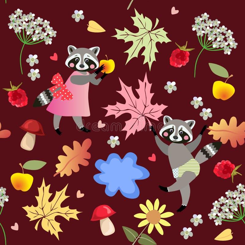 Bezszwowy wektoru wzór z ślicznymi kreskówek szop pracz, kwiatami, malinkami, pieczarkami, liśćmi, jabłkami i kałużą, ilustracji